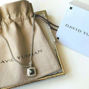 "David Y 7x7mm Hematite &Diamond Necklace 17"""